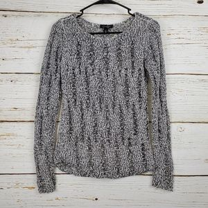 Jessica Simpson Black and White Open Knit Sweater